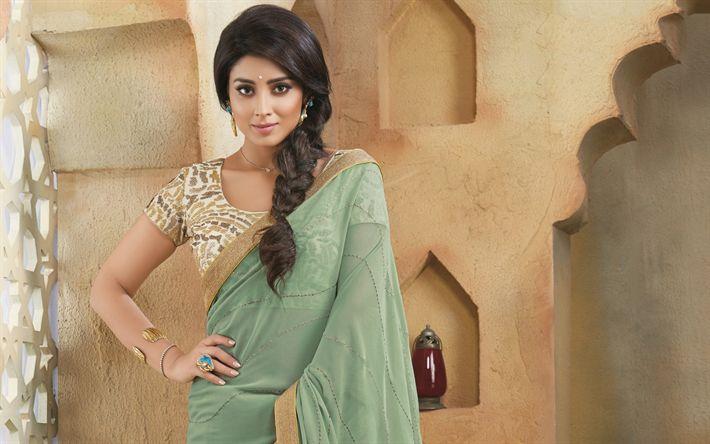 Descargar fondos de pantalla Shriya Saran, sari, la actriz india, de belleza, de Bollywood
