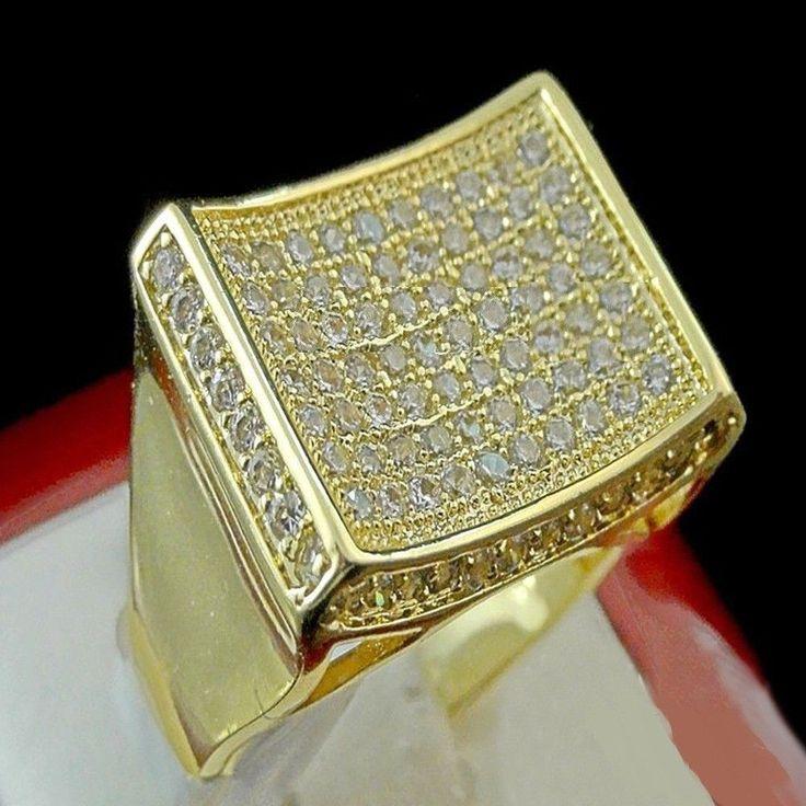 MEN'S YELLOW GOLD FINISH D/VVS1 DIAMOND ENGAGEMENT WEDDING PINKY RING 3.00 CARAT #br925silverczjewelry #MensWeddingPinkyRing #EngagementWeddinganniversaryPartyDailyWear