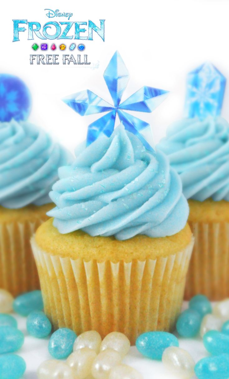 Delicious gem cupcakes inspired by the Frozen Free Fall App! Try it! iOS: click image, Android: http://di.sn/h01o