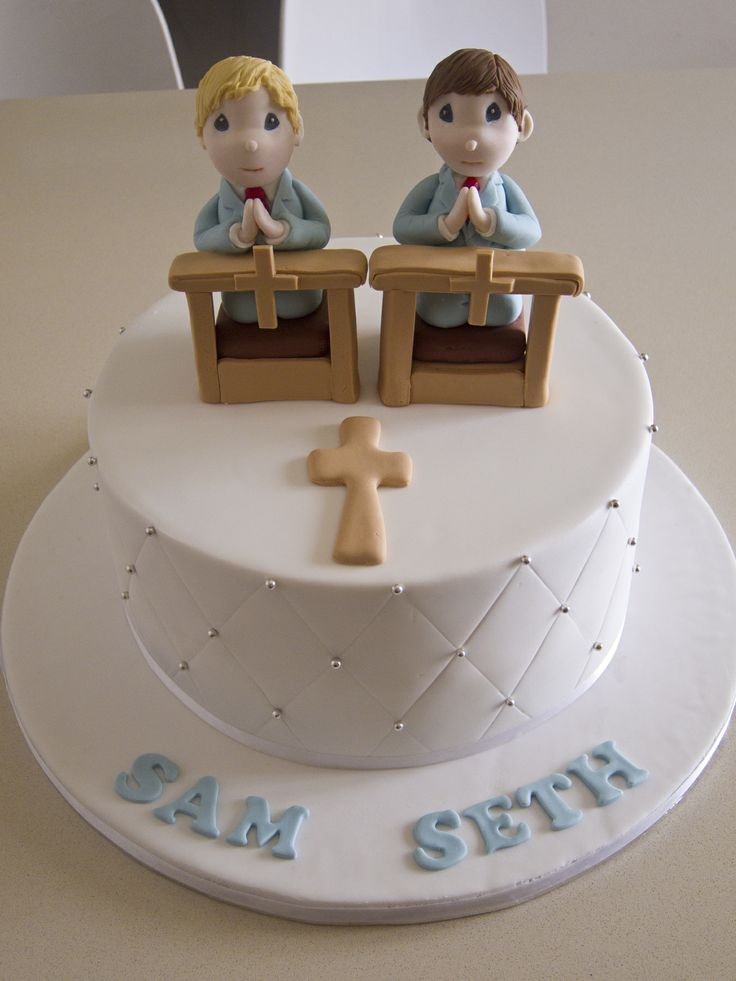 first holy communion cake for two little boys