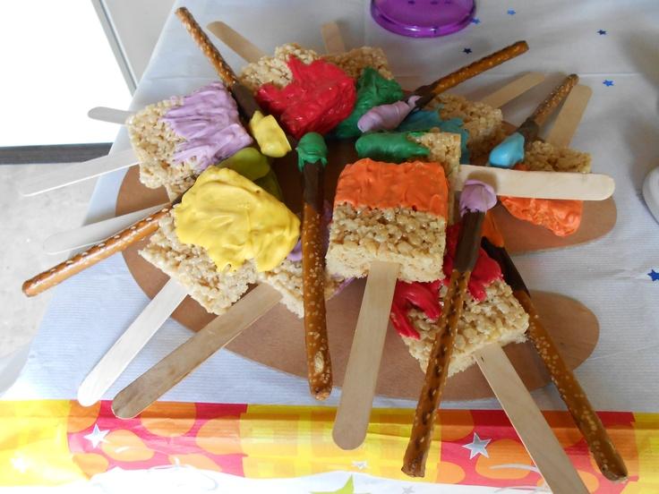Art Party Rice Krispy Treats | Art party, Rice krispie ...