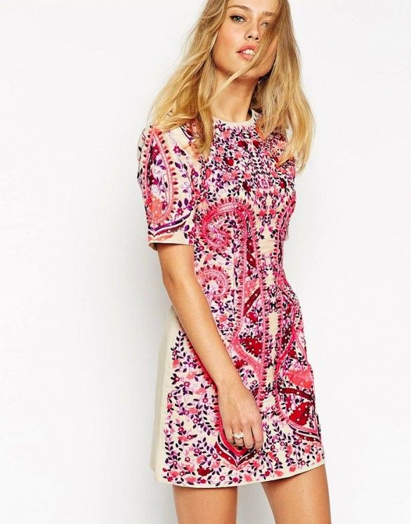 ASOS Premium Embroidered Shift Dress