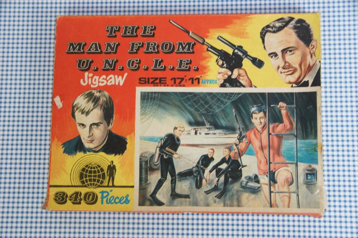 Vintage puzzle, man from uncle puzzle, 1960's U.N.C.L.E, jigsaw, 1965, frogman affair by JoorVintageTreasures on Etsy