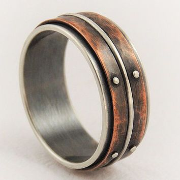 unique mens wedding ring men engagement ringsilver copper ringrustic ring - Cool Mens Wedding Rings