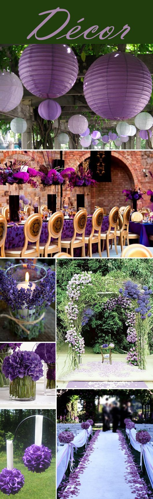 Purple Wedding Decor--Linen, Small wine glass shaped Votive & purple flowers @Mandy Dewey Seasons Bridal