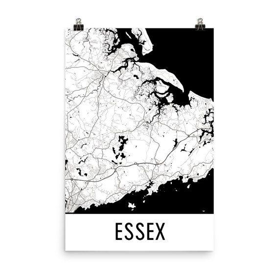 Essex Map Art Print, Essex MA Art Poster, Essex Wall Art, Map of Essex, Essex Print, Essex Art, Essex Gift, Essex Poster, Essex Decor