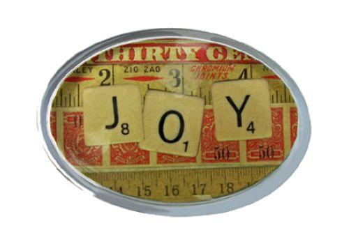 'Joy' Scrabble Letters Glass Paperweight