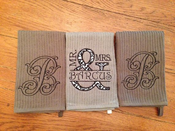 Mr And Mrs Kitchen Towel Set Personalized Monogrammed Of 3 Bridal