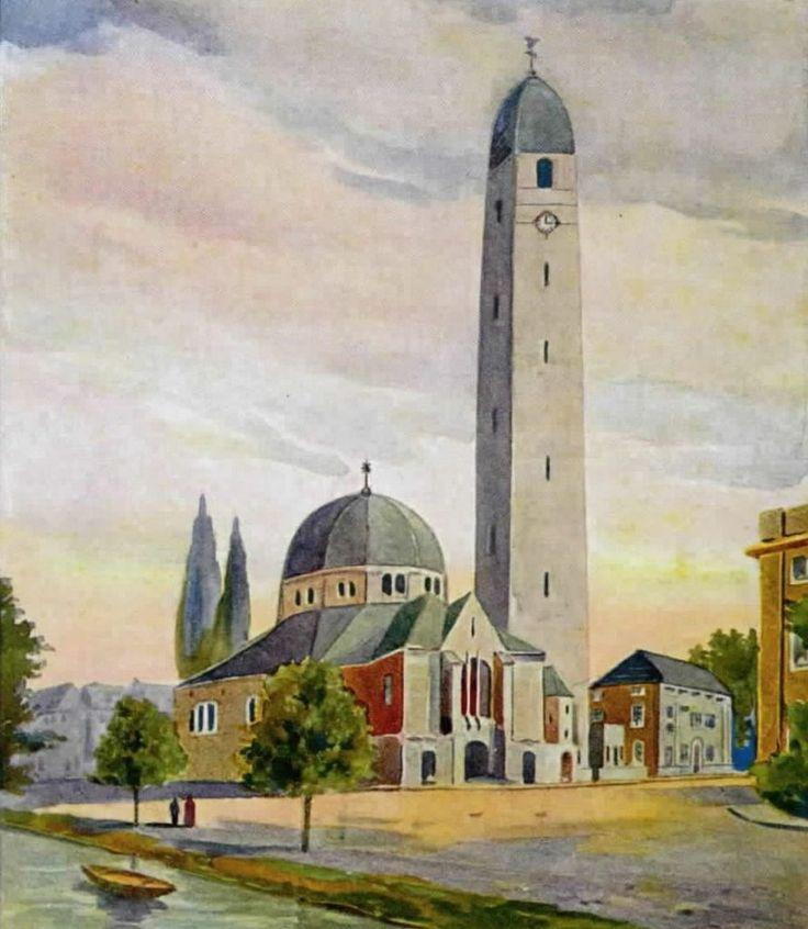 Aquarel Hendrik Valk, 1921 (Het Utrechts Archief) - Aloysiuskerk (ontwerp)