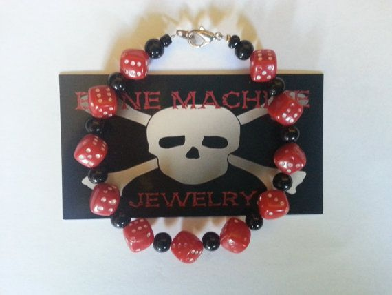 Black Howlite and Red Dice Bracelet. by BoneMachineJewelry on Etsy, $12.50