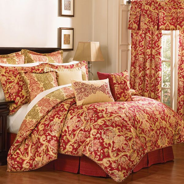 archival urn red and gold damask reversible bedding by waverly - Waverly Bedding