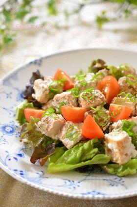 ATSUAGE PEANUT BUTTER SALAD, 厚揚げのピーナッツバター✿サラダ仕立て (yogurt, lettuce, cherry tomato, herb salt)