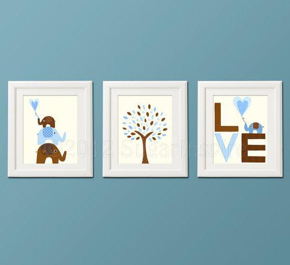 Brown and blue Nursery Art Print Set, 8x10, Kids Room Decor, baby boy, Children Wall Art - elephant nursery, love, baby elephant, tree