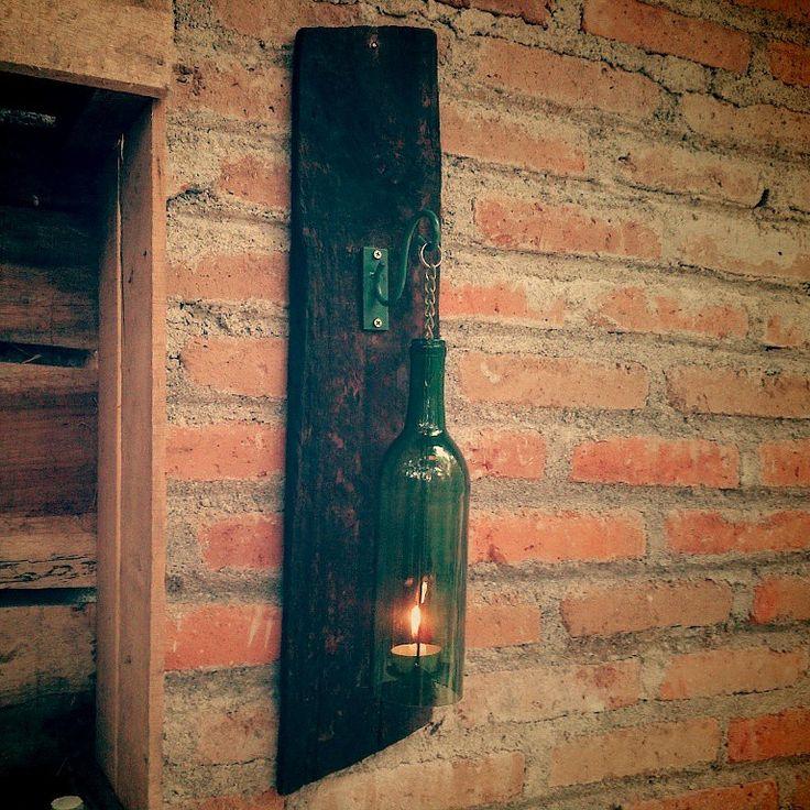 Wine bottle candle holder, tempat lilin gantung...