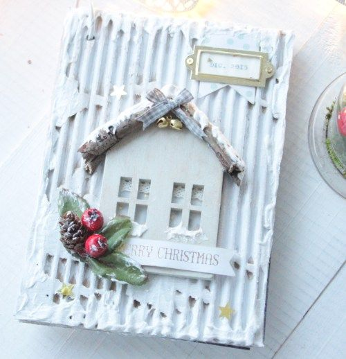 December daily - scrapbooking portada de cartón, efecto nieve gesso, snow christmas album