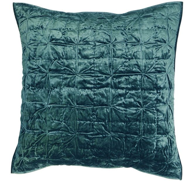Regal Hand Tuck Teal DG37  Features: Cotton and viscose cover Polyester fill Cool hand wash Do not rub, wring, soak or bleach Lay flat to dry away from direct sunlight Do not iron Dry cleaning recommended Made in India  Dimensions: x1 Filled European Pillowcase - 65cm x 65cm - #pillowcases