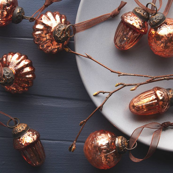 Set Of Antique Copper Glass Decorations