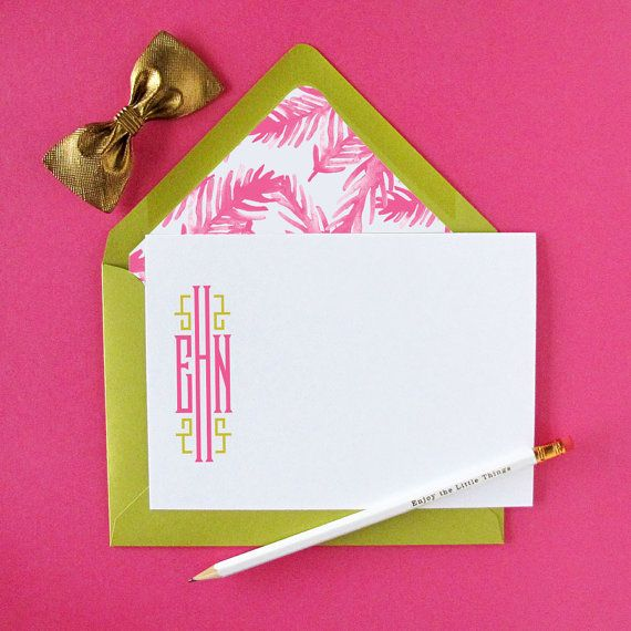 { Sample shown in peony pink and mystique }  INCLUDED: • set of 15 Monogrammed note cards with our Signature Chinoiserie Monogram Style and