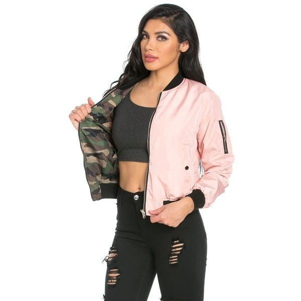 Reversible Solid Camouflage Bomber Jacket in Pink ($35) ❤ liked on Polyvore featuring outerwear, jackets, camouflage bomber jacket, pink jacket, camoflauge jacket, pocket jacket and camo print jacket