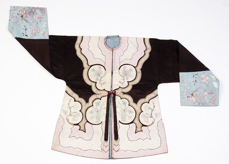 A Chinese Nonya wear jacket, late Qing Dynasty embroidered, woven and appliqued the sleeves beautifully worked with birds and flowers