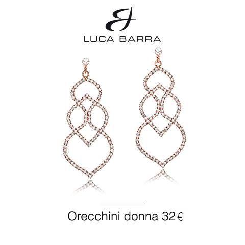 Orecchini in metallo con bagno in oro rosa e cristalli bianchi Luca Barra Gioielli. #orecchinidonna #lucabarragioielli #newcollection #style #look
