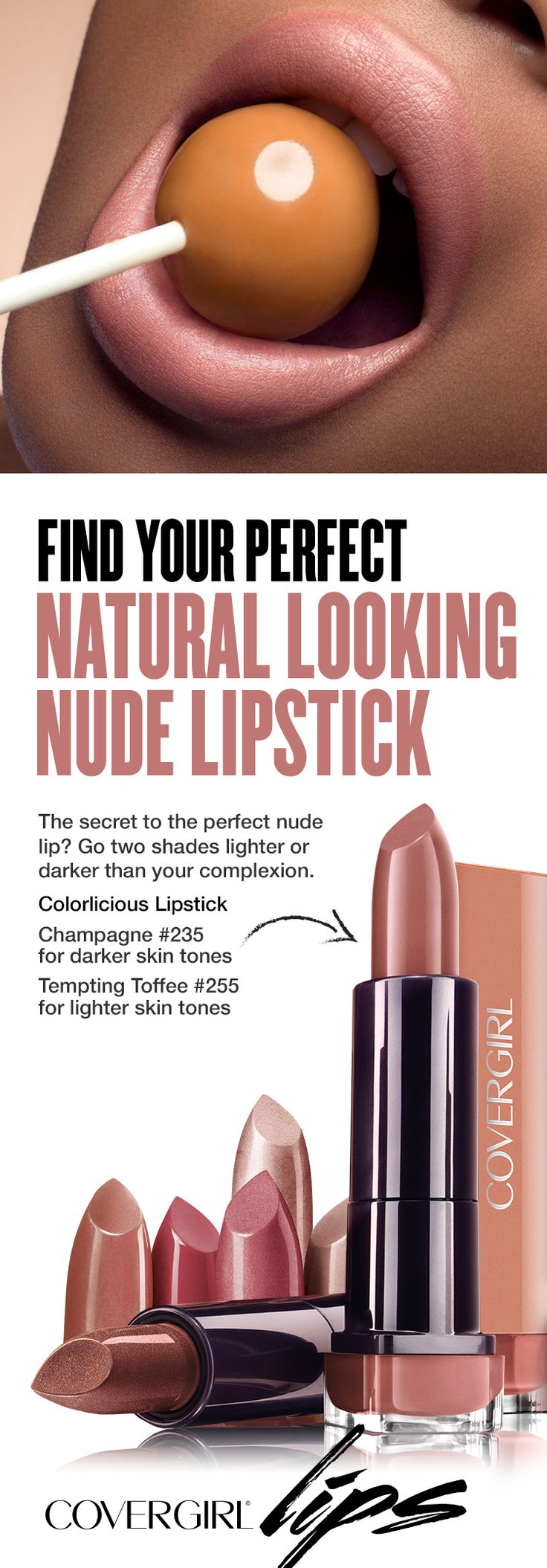 The secret to the perfect nude lip? Go two shades lighter or darker than your complexion. Nudes look great when paired with a smokey eye – perfect for any special occasion.