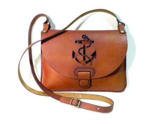 ANCHOR 25cm X 18cm CROSSBODY CLUTCH BAG Genuine leather, Laser cut, Hand stitched