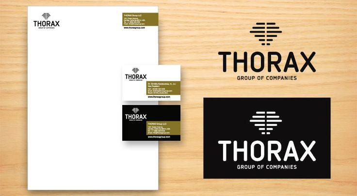 ThinkBAG created the Brand THORAX Group: Strategic Marketing | Naming | Logo Design | Full Corporate ID | Printing the Stationary and Business Cards