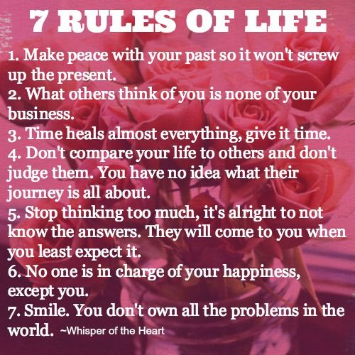 The 7 Rules of Life | GirlsGuideTo
