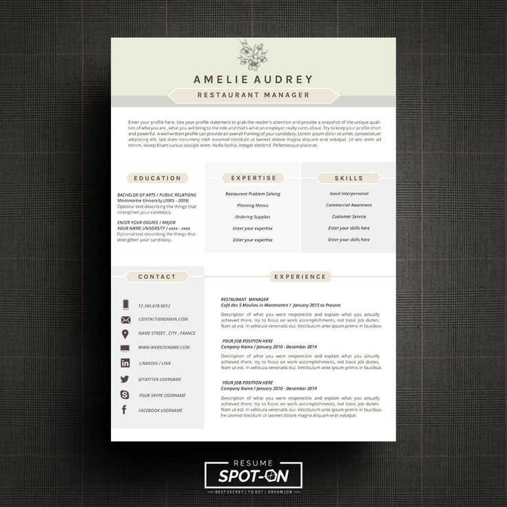 17 best Resume\/CV template by Spot-On Resume images on Pinterest - resume templates microsoft word 2010