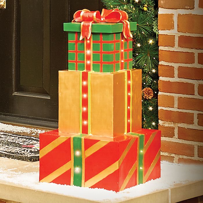 SALE Outdoor Lighted Musical Christmas Present Stack Sculpture Cordless  Decor