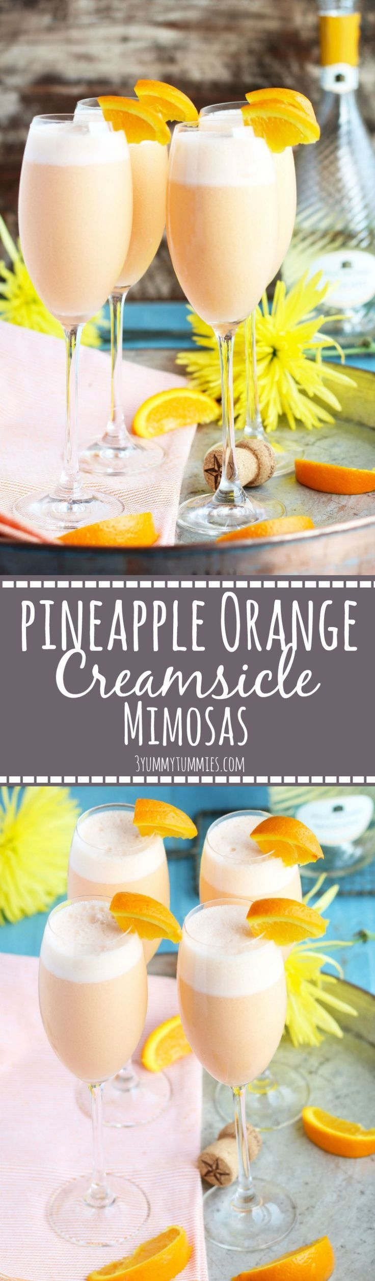 These Pineapple Orange Creamsicle Mimosas are an etherealblend of pineapple juice, orange sherbet and sparkling Moscato. Only 3 ingredients transforms the basic mimosas into a creamy, dreamy combination that will wow your guests at your next brunch. Blending the ingredients together ensures the perfect flavor combination in each sip