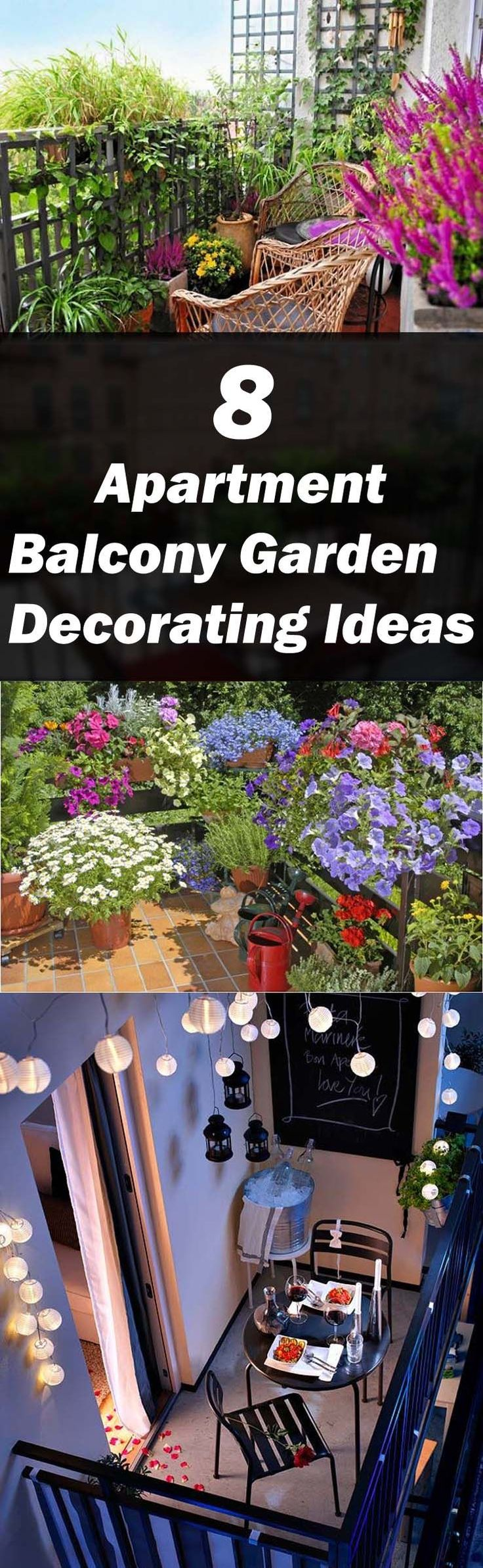 Look at these 8 apartment balcony garden decorating ideas to find out how you can make your balcony the most comfortable space. #balconygarden