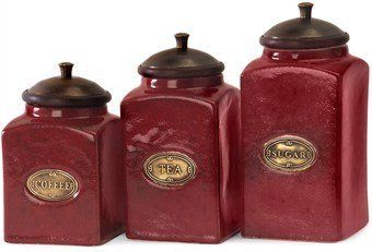 Best Kictchen Rugs | IMAX 52683 Red Ceramic Canisters Set of 3 * Want additional info? Click on the image. Note:It is Affiliate Link to Amazon.