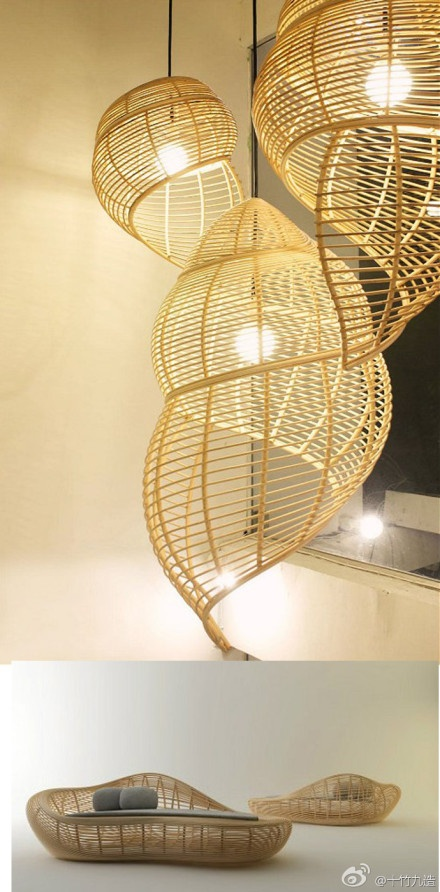 Chairs and lamps made of natural material from Thailand