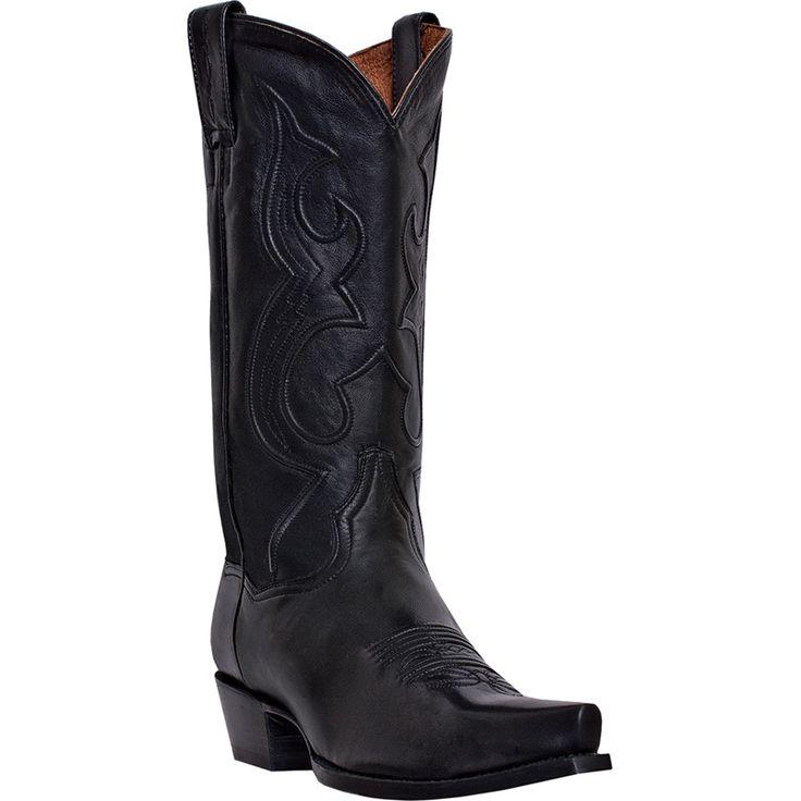 Dan Post Mens Black Saddle Leather Bexar Snip Toe Cowboy Boots