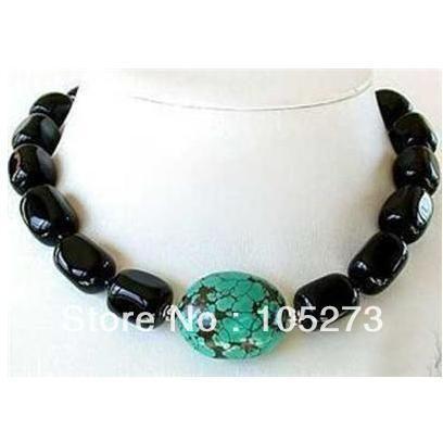 Удивительные черный агат и турция бирюза тибет серебро бусины ожерелье 18 '' ювелирные изделия женщин подарок стиль новый бесплатная доставка