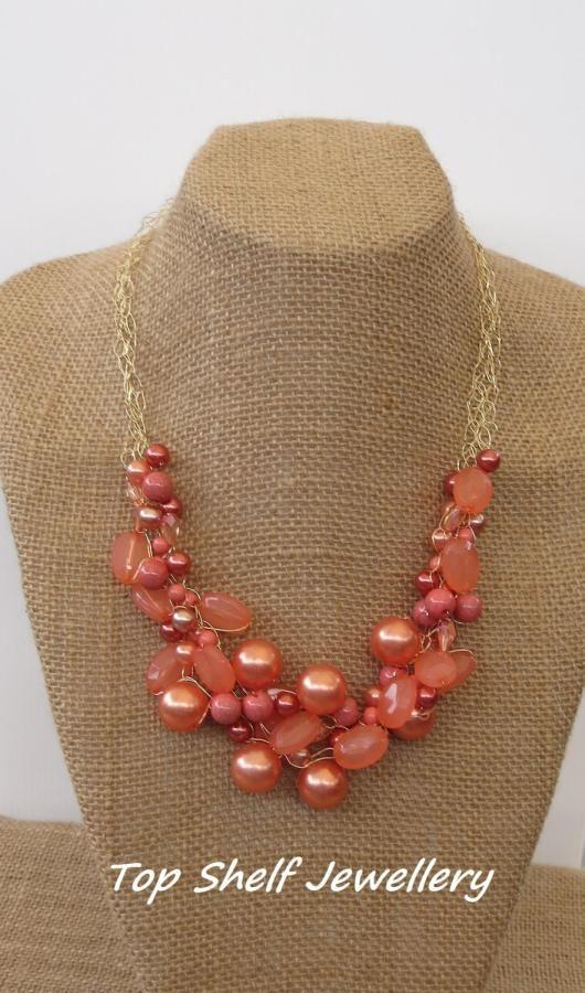 Orange Bronze Crochet Wire and beaded Bib Necklace - Jewelry creation by Top Shelf Jewellery & Accessories
