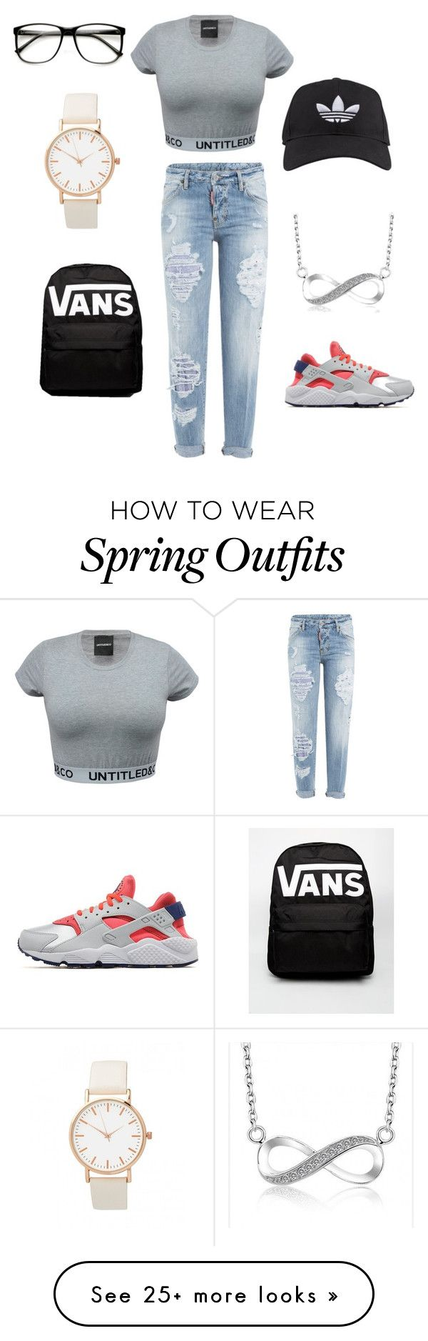 """""""French outfit #spring/summer"""" by raiyleee on Polyvore featuring NIKE, Dsquared2, adidas, Vans, women's clothing, women, female, woman, misses and juniors"""