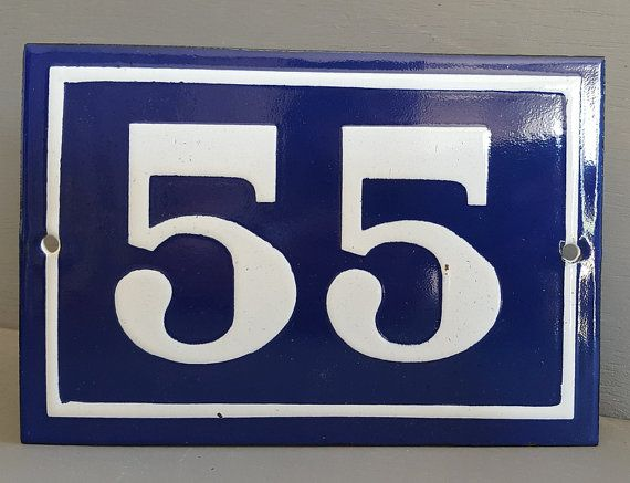 55 French Enamel Number Sign House Door Street Address Gate Garage Plaque French Enamel House Numbers House Number Sign