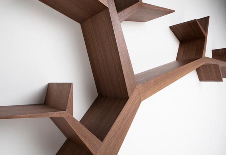 Olivier Dolle, Artisan Designer  tree shelf detail