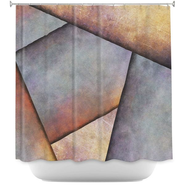 Cool Funky Shower Curtains | Sylvia Cook - Abstract Brown Grey | Slate Stone Shapes