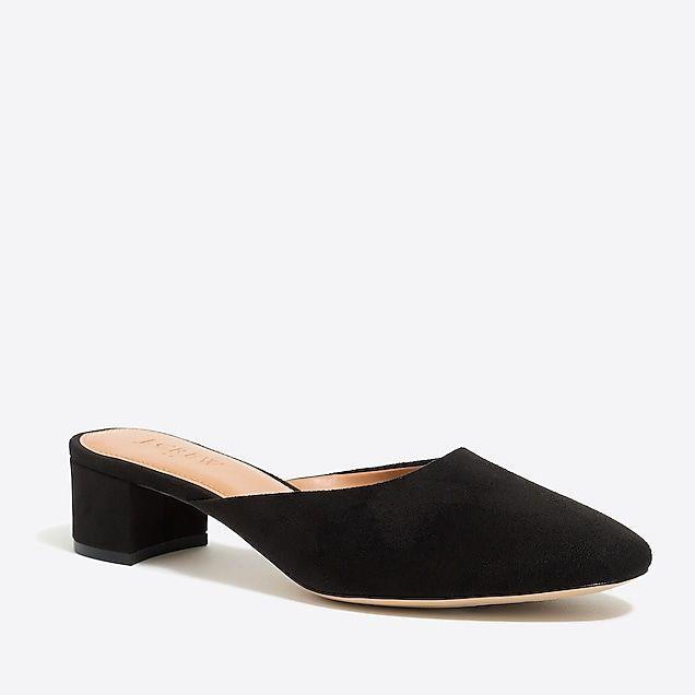 0e12cde1030 suede block heel mules   factorywomen dress-up shop