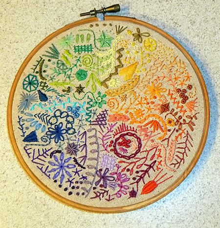 Rainbow doodle stitch sampler hoopla made by sheepBlue on craftster.