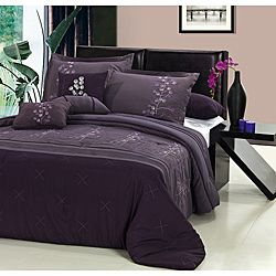 @Overstock - This polyester poppy flower comforter set features Asian-inspired floral embroidery and pin tuck details. Four decorative pillows, an 18-inch drop bedskirt and two shams complete this elegant set.http://www.overstock.com/Bedding-Bath/Poppy-Flower-Plum-8-piece-Comforter-Set/6713135/product.html?CID=214117 $84.99