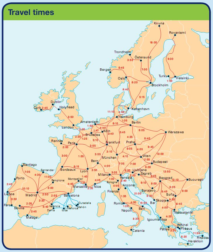 How cool - Travel times (by train) for getting around Europe!