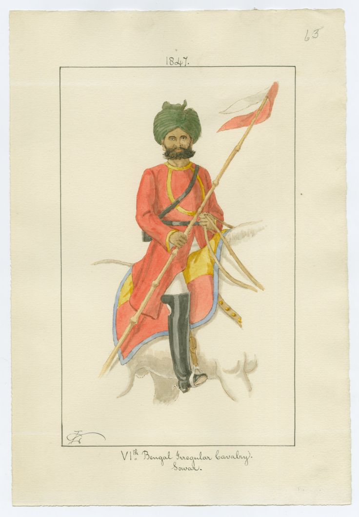 British; 6th Bengal Irregular Cavalry, Sowar, 1847 by Charles Lyall.