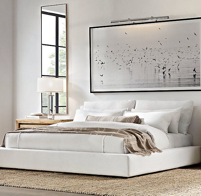 White and Tan, neutral and calming bedroom // RH Modern