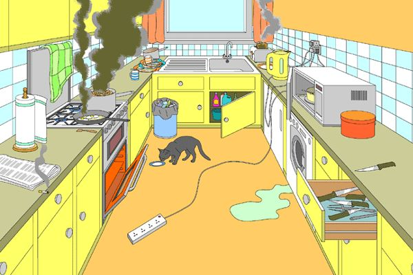 """Kitchen Hazards Bellringer - it's just an image. Have students identify all the potential hazards and why it's hazardous. (ex: """"cat"""" is not enough. """"cat could knock stuff over/you could trip on the cat"""" is a good answer)"""