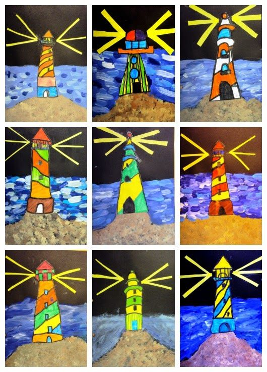 Spanish blog - could do something like this by using Canadian lighthouses as models (although they aren't nearly as colourful as these).
